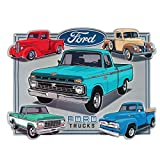 """Open Road Brands Ford Trucks Collage Embossed Garage Tin Sign Vintage Style, 13"""" W"""