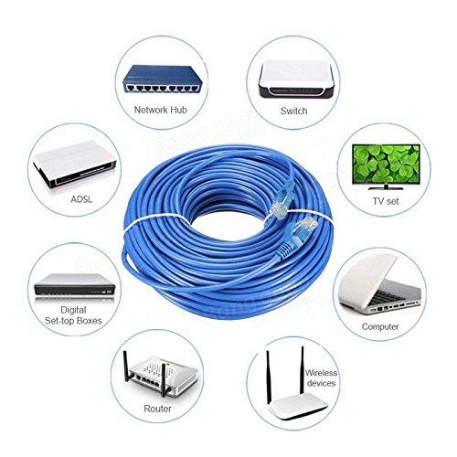 routeur Link-e /® : Cable reseau bleu ethernet RJ45 50m CAT.6 qualit/é pro PC connexion internet Box TV switch consoles...