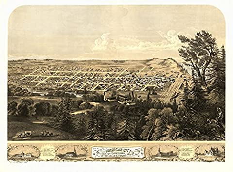 Antique Map of Michigan City Indiana 1869 LaPorte County (18x24 Paper Poster) - Michigan Antique Map