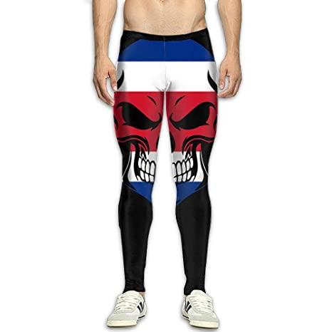 OIIH08-0 Costa Rican Flag Skull Men s Compression Leggings Base Layer Cool  Dry Workout Pants a07da2f764f