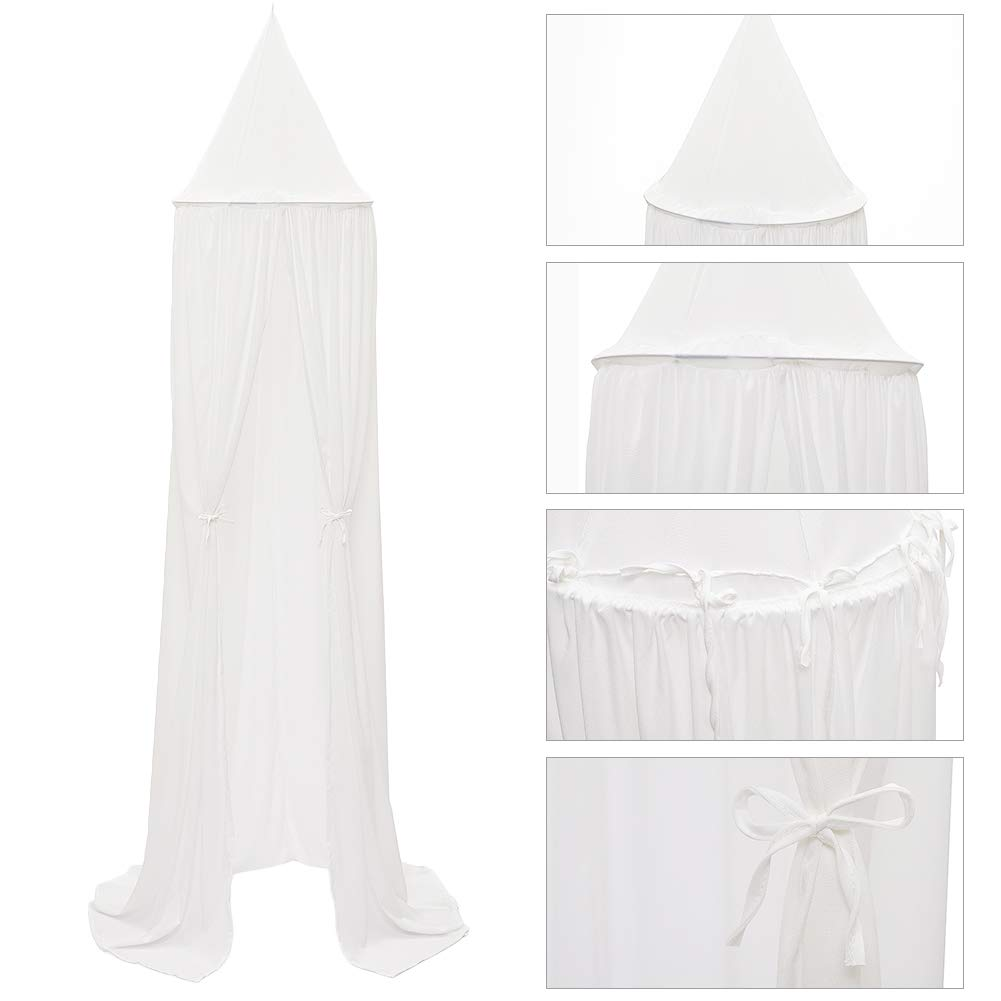 Bed Canopy for Children,Chiffon Mosqutio Net,Baby Indoor Outdoor Play Reading Tent, Bed & Bedroom Decoration (White) by Volowoo