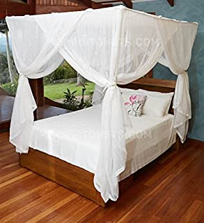 MOSQUITO NET BED CANOPY | QUEEN Size Bed Net | Easy Care machine washable cotton mosquito & Amazon.com: Nicamaka Bali 1-Point Bed Canopy Poly-Cotton Gauze ...
