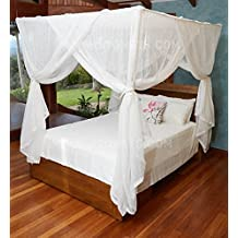 MOSQUITO NET BED CANOPY | QUEEN Size Bed Net | Easy Care machine washable cotton mosquito netting | Secure insect protection with the best quality designer mosquito net