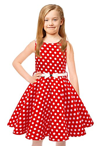 Tkiames Girls Vintage Polka Dot Easter Sleeveless Casual Swing Party Dress with Belt (8T(8-9 Years), Red)