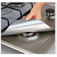 Lingstar 4PCS Non-Stick Gas Range Protectors Reusable Aluminum Foil Gas Stove Burner Cover Protector Liner Clean Mat Pad