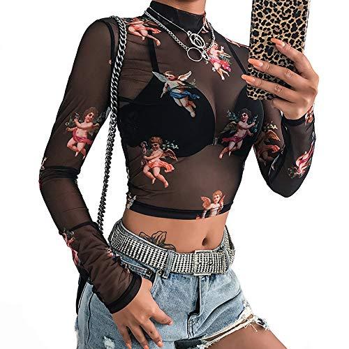 Women Angel Printed Black Mesh T-Shirt Transparent Bodycon Long Sleeve Crop Top (M)