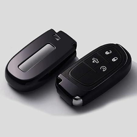 Ontto Smart Autoschlüssel Hülle Abdeckung Schlüssel Tasche Tpu Silikon Schlüsselschutz Schlüsselanhänger Für Jeep Grand Cherokee Dodge Challenger Charger Dart Durango Journey Chrysler 300 Black Auto