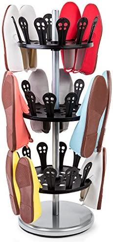 Tatkraft ROLL Rotating Shoe Rack, 3 Tier Shoe Rack Carousel with Solid Base, Revolving Shoe Rack, 18 Pairs, 31 X 86 X 31cm, Steel and Plastic