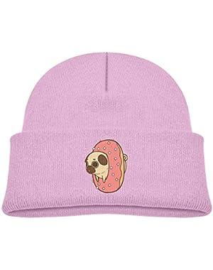Kids Knitted Beanies Hat Puppy Pug Bulldog and Doughnut Winter Hat Knitted Skull Cap for Boys Girls Black