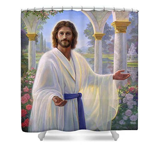 Pixels Shower Curtain (74'' x 71'') ''Abide With Me'' by Pixels