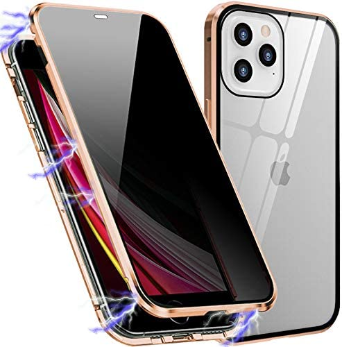 Magnetic Case Compatible with iPhone 12 / iPhone 12 Pro, Privacy Anti-Peeping Front and Back Tempered Glass Full Screen Coverage Magnet Metal Frame ...