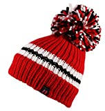 Itzu Big Bobble Stripe Ribbed Beanie Hat Cap Marl Knitted Pom Pom Roll Turn Up in Red White