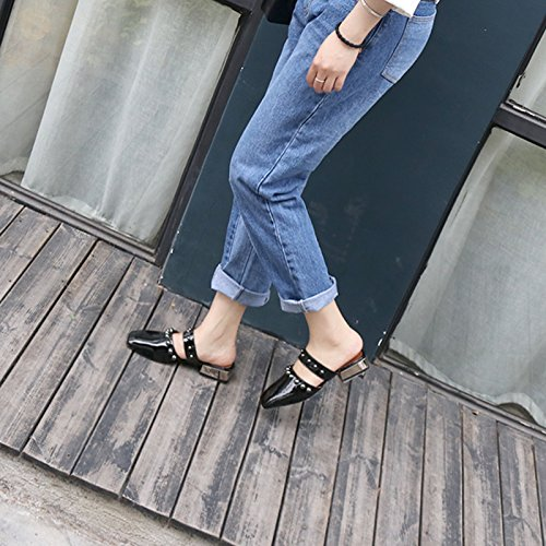 femme déposer Angrousobiu rivet glisser Black mode casual l'été et chaussons un porter printemps fqYOg