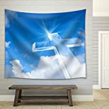 wall26 - Christian Cross over a Beautiful Sky Background, for Holiday, Christmas, Easter and Religion Designs - Fabric Wall Tapestry Home Decor - 51x60 inches