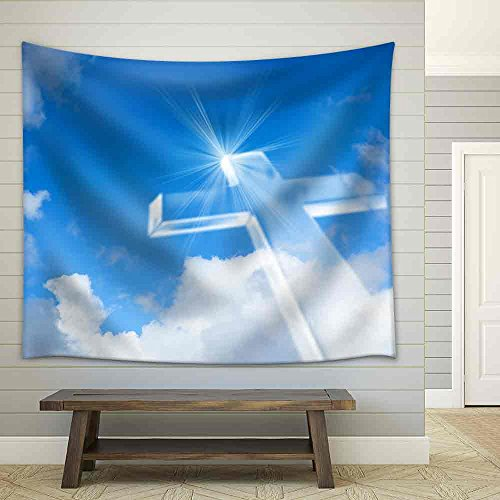 Christian Cross over a Beautiful Sky Background for Holiday Christmas Easter and Religion Designs Fabric Wall Tapestry
