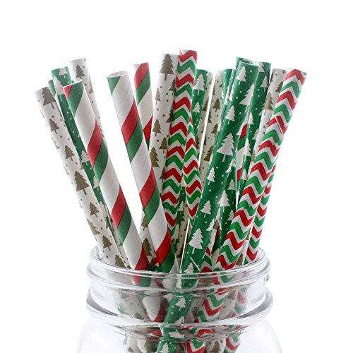 Ipalmay Christmas Drinking Straw, Biodegradable Paper Straws, 7.75 Inches, Red and Green, Pack of (Christmas Paper)