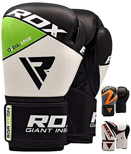 RDX Boxing Gloves, Training Punching Bag Sparring Maya Hide Leather Muay Thai Mitts Kickboxing, 16Oz, Green