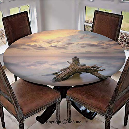 Elastic Edged Polyester Fitted Table Cover,Sunrise on the Water and Driftwood on the Sandy Beach Digital Image,Fits up to 36