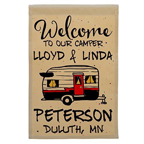 Welcome to Our Camper Personalized Campsite Flag, Vintage Tr
