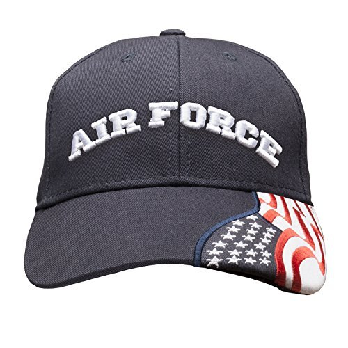 Air Force Embroidered with USA Flag Adjustable Cap 100% Cotton Basball Hat - Navy Blue