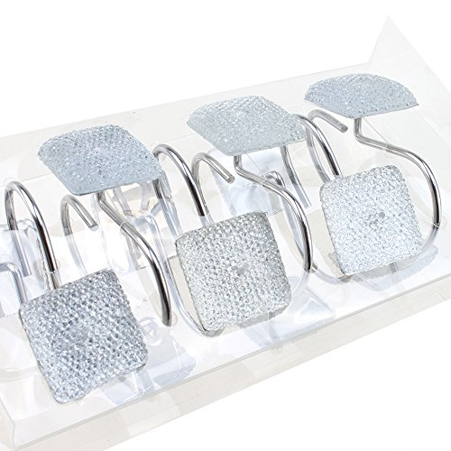 Agptek rhinestone star diamond 12 piece shower curtain for Bathroom accessories with rhinestones