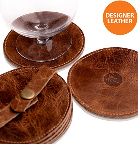 Classy Leather Drink Coasters - Best Stylish Bar Drinks Coaster Set for Modern House Warming Presents - Costers Furniture Accessories - Coaters - Leather Drink Coaster