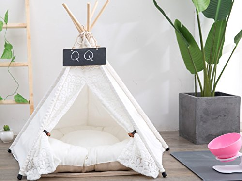 Yongs Pet Cat Dog Rabbit Teepee Cushion,Portable Puppy Small Animals Bed Tent (20 X 24 Inch) by Yongs (Image #2)