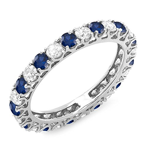 14K-White-Gold-Round-White-Diamond-Blue-Sapphire-Ladies-Eternity-Wedding-Anniversary-Stackable-Band