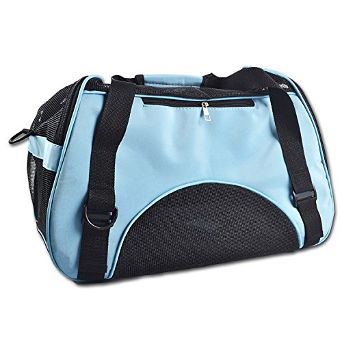 bluee 502334cm bluee 502334cm Portable Mesh Breathable Folding Pet Carrier Small Dog Cat Outdoor Travel Carrier Bag Tote Handbag Pet Basket (502334cm, bluee)