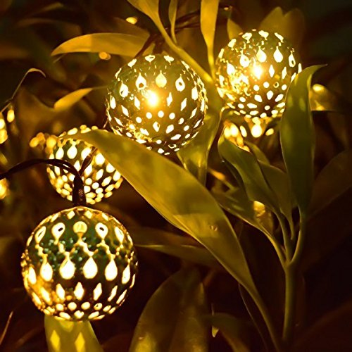 LED Solar Globe String Lights 12ft 10 LEDs Moroccan Orb Ball Waterproof Ambiance Lighting Starry Fairy Lights for Outdoor Garden Yard Patio Party Home Decoration Christmas (Moroccan Ball Warm-White)