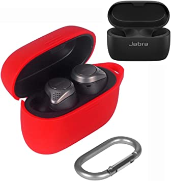 Amazon Com Esimen Jabra Elite 75t Case Cover 2020 Released Soft Silicone Skin Cover Shock Absorbing Protective Case With Keychain For Jabra Elite Active 75t Back Led Visible Red Home Audio Theater