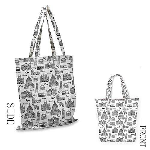 CityShopping bag seriesMonochrome Sketch Style Famous Places from Italy Rome Milano European ArchitectureInsulated shopping bag W15.75 x L13.78 Inch Black White ()