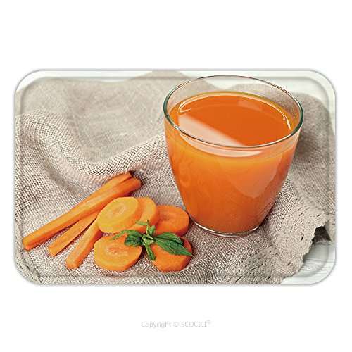 Flannel Microfiber Non-slip Rubber Backing Soft Absorbent Doormat Mat Rug Carpet Glass Of Carrot Juice With Vegetable Slices On Table Close Up 328886504 for Indoor/Outdoor/Bathroom/Kitchen/Workstation