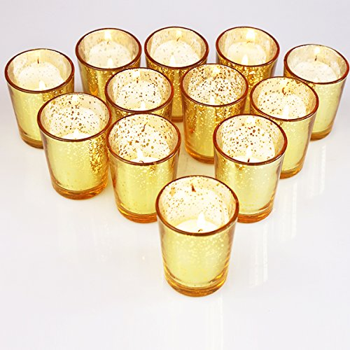 YYCH Classy Votive Candle Holders Set of 12 - Made Of Mercury Glass With A Speckled Gold Finish - Perfect To Add A Unique Atmosphere To Every Home And Wedding Decor -