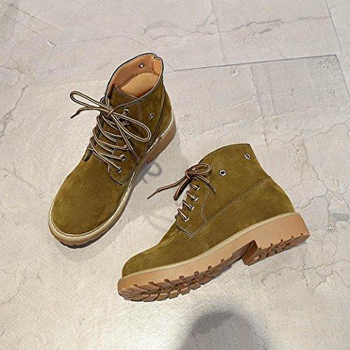 TPulling Herbst Winter Schuhe Mode Stylische Damen Flachte Martin Stiefel Retro Stiefel Armee-Grün