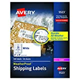 "Avery WeatherProof Mailing Labels with TrueBlock Technology for Laser Printers 2"" x 4"", Box of 500 (5523)"