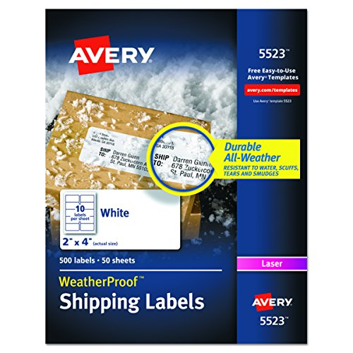 Printed Message Self Adhesive (Avery WeatherProof Mailing Labels with TrueBlock Technology for Laser Printers 2