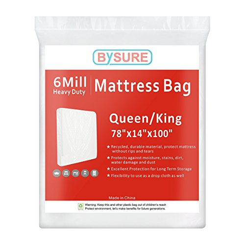 (BYSURE 6 Mil Super Thick Mattress Bags for Moving & Long Term Storage, 3D Envelope Shape Fits Queen/King Size)