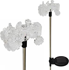 Solar Powered Tractor Garden Stake Outdoor Color Change Lights (Set of 2)