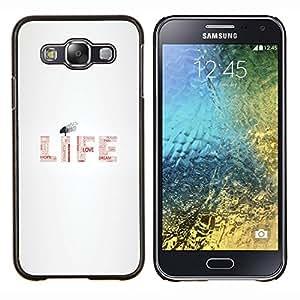 LECELL--Funda protectora / Cubierta / Piel For Samsung Galaxy E5 E500 -- MENSAJE TIPOGRAFÍA VIDA --