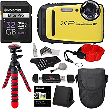Fujifilm FinePix XP90 Waterproof digital camera (Yellow), 32GB Class 10, Memory Card Reader, 12  Tripod, Camera Case, Polaroid Floating Foam Strap Red, Polaroid Cleaning Kit & Accessory Bundle