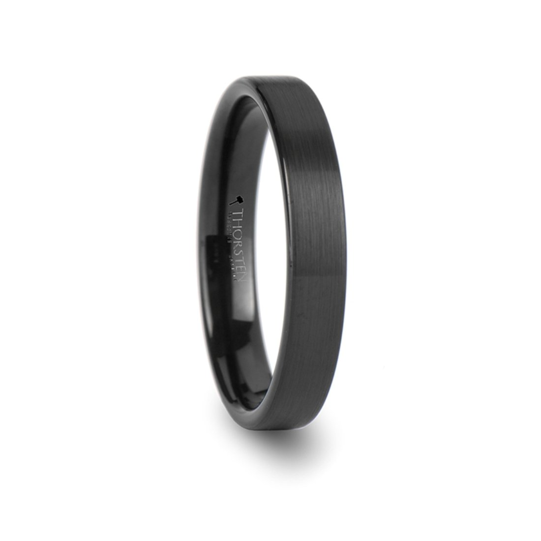 Thorsten SAN Antonio Flat Black Brushed Finish Tungsten Ring 4mm Wide Wedding Band from Roy Rose Jewelry