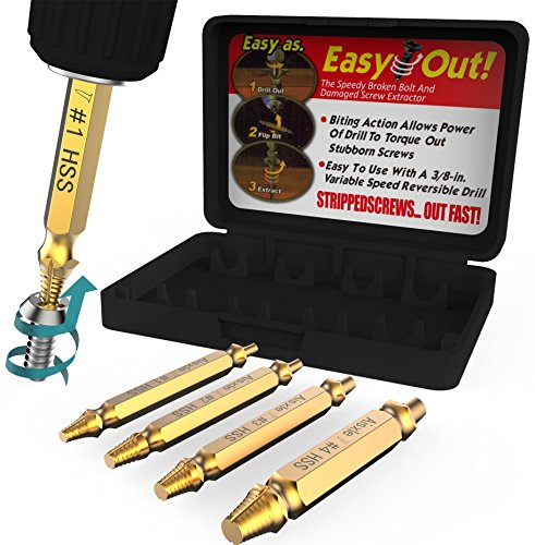Drill Out Broken Bolt Extractor (Damaged Screw Extractor Set by Aisxle,Easily Remove Stripped Gold Oxide Edition Stripped Screw Removers (Glod))