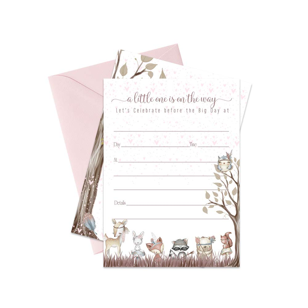 Woodland Friends Baby Shower Invitations with Pink Envelopes 15 Pack Fill-in Blank Invites for Girls