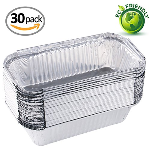 30 Bread Pans - Aluminum Pans Foil Pans 8.5X4.33(30 PACK) Durable Chafing Pans Disposable Steam Table Baking Pans Rectangular Half Size Deep Perfect for Baking, Roasting, Broiling, and Cooking, Cakes, Loaf, Bread,Pie