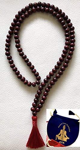 Rosewood red sandalwood 8mm handmade 108+1 beads prayer japa mala necklace -Energized yoga meditation beads jaap mala - W/Free Velvet or 100% Jute Mala Pouch - US Seller ()