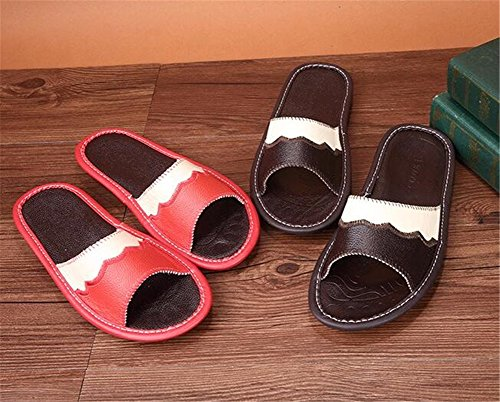 Leather Autumn Anti Men Corium Smelly Cowhide Summer Spring TELLW Slippers Women Floor Wooden for TgBUqp1