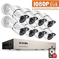 ZOSI 8CH 1080P HD-TVI Video System DVR Recorder with 8 Weatherproof 1920TVL 2.0MP 100ft Night Vision Surveillance Camera System 2TB Hard Drive White (Aluminum Metal Housing) (Certified Refurbished)