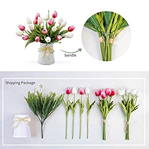 YILIYAJIA Artificial Tulips Flowers with Ceramics Vase Fake Tulip Bridal Bouquets Real Touch Flowers Arrangement for Home Table Wedding Office Decoration(White&Red) 3