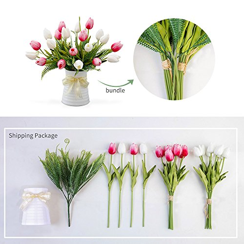 YILIYAJIA-Artificial-Tulips-Flowers-with-Ceramics-Vase-Fake-Tulip-Bridal-Bouquets-Real-Touch-Flowers-Arrangement-for-Home-Table-Wedding-Office-DecorationWhiteRed